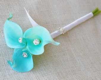 Silk Flower Wedding Bouquet Turquoise Aqua Aruba Blue Calla