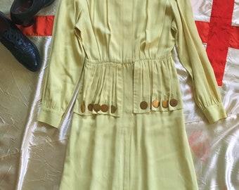 1940s Chartreuse Rayon Dress - Small Junior Debutante with Peplum