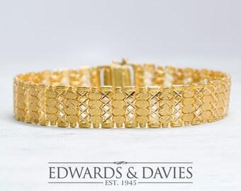 Gold Fancy Link Bracelet   Large Link Bracelet   Mens Womans Gold Bracelet   Antique Jewelry   Antique Jewellery   Vintage Bracelet