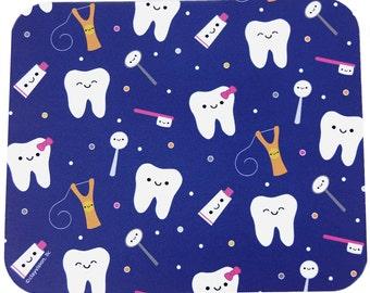 "Clayvision Dark Blue Tooth Teeth Mouse Pad 7.75"" x 9.25"" x 1/4"" Dentist Hygienist Floss"