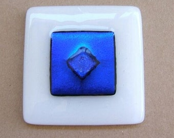 Glass Cabinet Knob in White and Cobalt Blue Dichroic Glass