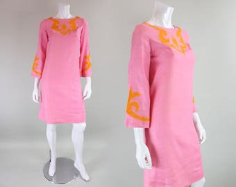 1960's Pink Linen Dress with Applique