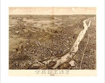 """Troy New York in 1881 Panoramic Bird's Eye View Map by Beck & Pauli 21x17"""" Reproduction"""