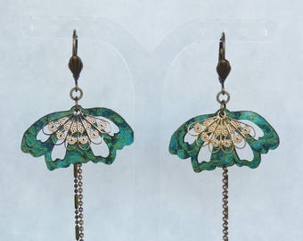 """Earrings mid-length """"Butterfly"""" - Japanese fabric turquoise/Emerald"""