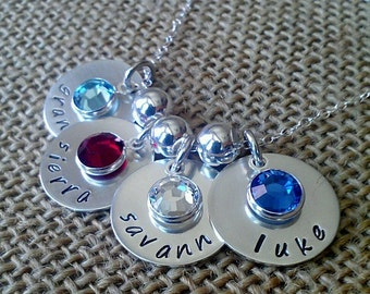Personalized Kids Name Necklace For Mom Or Grandma - Custom Family Necklace With Kids Names Grand Kids - Sterling Silver - Stamped Evermore