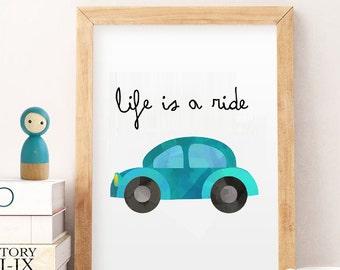 SALE Boys room decor, printable boy room decor, life is ride art, boys art print, boys room decor, boys cars art, blue , instant download