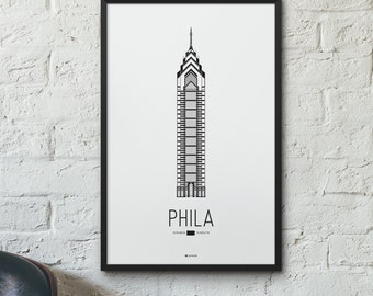 Philadelphia Icon City Print - Minimalist Poster - One Liberty Place