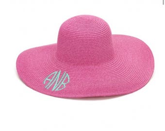 Monogram Sun Hat, Monogram Beach Hat, Floppy Hat, Straw Hat, Monogram Floppy Hat, pink Hat, Ladies beach hat, personalized hat, cruise hat