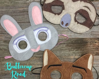 Zootopia inspired imagination masks Bunny Sloth Fox Judy Flash Nick Disney Inspired Felt Dress up make believe