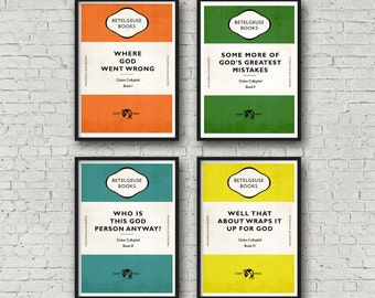 Hitchhiker's Guide to the Galaxy - Oolon Colluphid Art / Print / Poster set of 4 (H2G2)