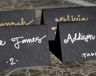 Custom Hand Lettered Place Cards - Black