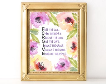 FORGIVE Print / Every Day Spirit / Inspirational Wall Art / Dorm Decor / Encouraging Quote / Forgive / Forgiveness / Spirituality / Wall Art