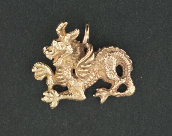 Medieval Dragon Pendant in Antique Bronze