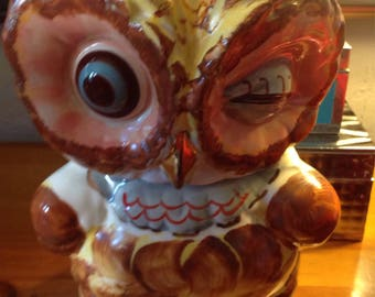 Vintage SHAWNEE Pottery Winking Owl Cookie Jar USA 1950's