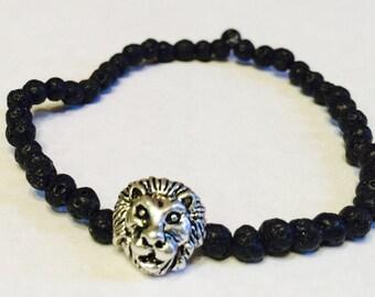 lion bracelet, lava bracelet, black lava beads, lion lava bracelet, lion bracelet, beaded bracelet, lava bead bracelet, mens bracelet, gift