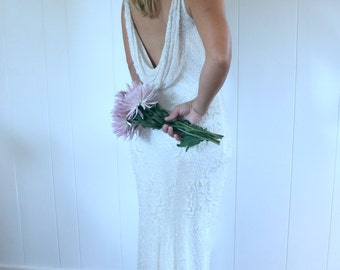 Stunning Low Back White Vintage Beaded Wedding Gown