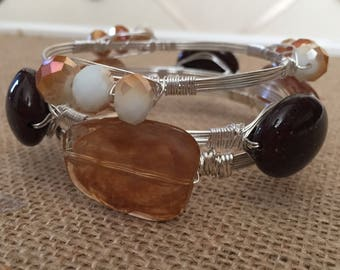 Wire wrapped bangles, Set of 3 wire wrapped bracelets, Fall wire wrapped bangles