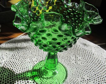 Rare Fenton Green Hobnail Glass Ruffle Dish