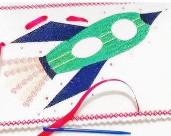 Rocket Spaceship lacing card sewing card #3876
