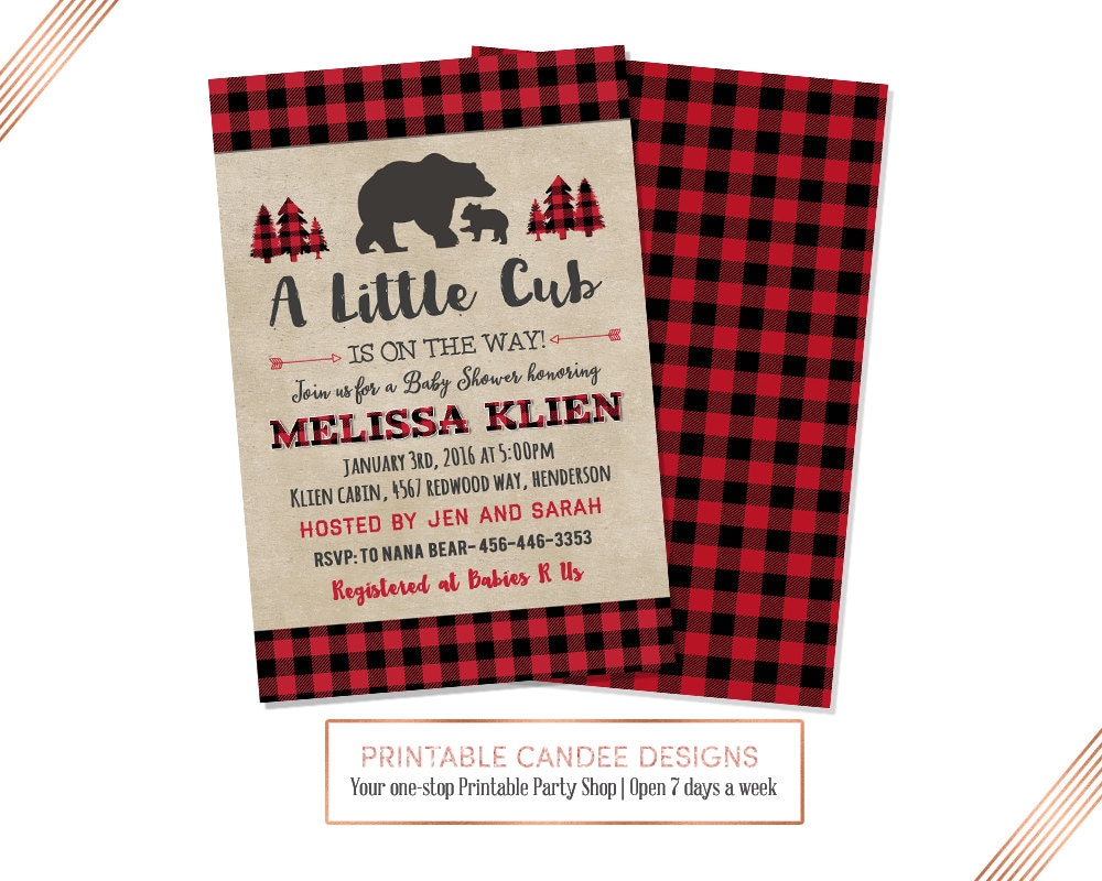 Bear Baby Shower Invitation Lumberjack Baby Shower Invite