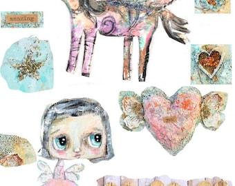 Unicornio y hada-digital imagen de papercraft para imprimir imagen, hoja de collage, proyecto del arte