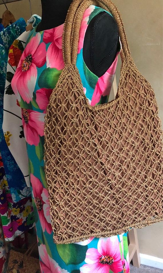 Vintage Market Bag Hand Woven Rope Purse