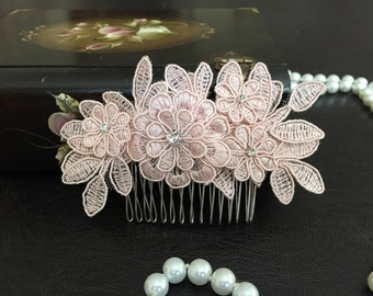 Bridal Hair Accessories, Wedding Head Piece, Blush Pink Lace, Rhinestone