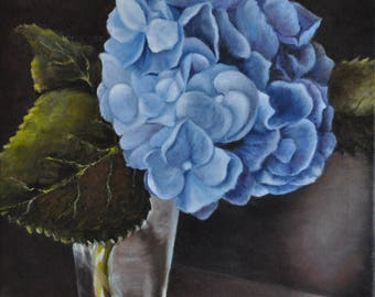 Print of an Original Oil Painting of Blue Hydrangeas-- Floral Still Life Painting