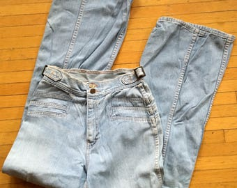 1970's FLARED JEANS - with cool ACCENTED hips and back!   Great patina,  size Extra Small!!