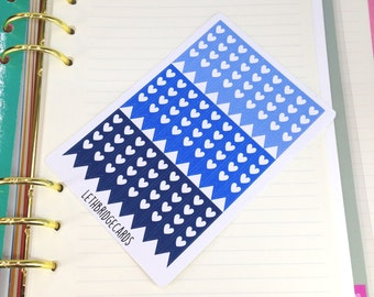 Blue heart checklist stickers; Ombre Stickers; Filofaxing; Erin Condren; Cute Stickers; Kawaii Stickers; Colour Coding; Planner Sticker