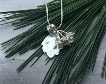 Sterling Silver Leaf Bunch Necklace