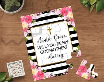 Will You Be My Godmother, Godmother Puzzle Card, God Birthday, Be My Godparent, Baptism, Godmother Proposal, Christening card, Invitation