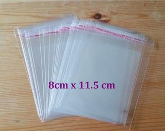 Self Adhesive Plastic Storage Bags, 8cm x 11.5cm, 100 PCS Clear Craft Sealing Bags