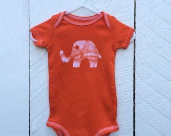 Elephant Baby Gift, Elephant Baby Bodysuit, Orange Elephant Bodysuit, Baby Shower Gift, Gender Neutral Baby Gift (6-9 months)