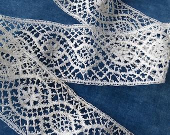 Antique Hand Made Bobbin Torchon Lace Insertion Trim- 225 x 5 cm