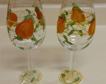 Hand Painted Fruit Wine Glasses