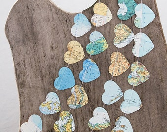 Paper garland bunting, wedding garland, heart garland, atlas Recycled map garland, party home decor, nursery kids children birthday party