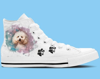 Poodle Dog Artwork High Top Shoes / Sneakers - Dog lovers shoes