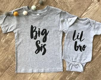 Big Brother Big Sister Little Brother Little Sister Shirts • Sibling Shirt Set • Lil Bro Sis Big Bro Sis • Pregnancy Announcement Shirt