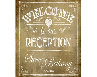Personalized WELCOME to our RECEPTION Printable Poster - DIY - Vintage Style - wedding signage - Rush Option