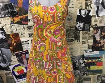 Vintage 1960's Midi Dress Psychedelic Hippie Boho Sleeveless Multicolour Summer Paisley Size UK 10 Free UK & Cheap Worldwide Postage