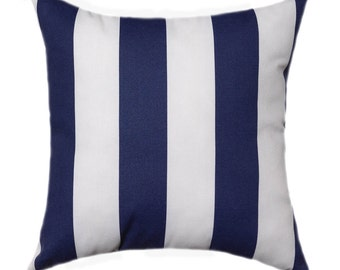 "Navy STUFFED Outdoor Pillow, Nautical Navy and White 2"" Stripe Pillow, Navy Stripes Outdoor Lumbar Pillow, Blue Striped Pillow - Free Ship"