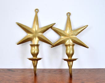 Vintage Brass Star Wall Sconces, Taper Holders, Candle Holders