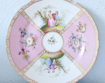 Antique Dresden (Cabinet/Serving) Plate, Courting Couple Decor after Antoine Watteau, Germany