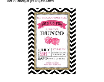 Gold Bunco Invitation 4x6 or 5x7 digital you print your own- Design 233