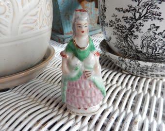 Vintage Japan Porcelain Figurine, Miniature Lady Holding a Fan, Pink Green Dress Georgian/Victorian/Colonial Woman Shabby Cottage Chic Decor