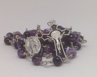 Rosary Catholic Purple Agate with Handwrapped Wire and Bead Caps