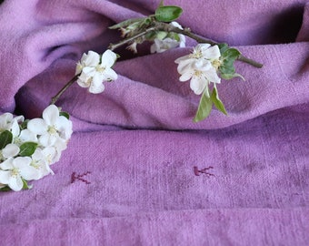 F 473 : antique, handloomed, MOTHERSDAY LILAC ;grainsack, pillow, cushion, runner, 42.52 long,upholstery project,french lin,decor