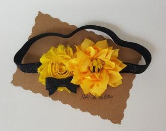 Bumble bee headband. Yellow headband. Yellow black headband. Bee headband. Bumble bee birthday. Kids headband. Girls headband. Baby headband
