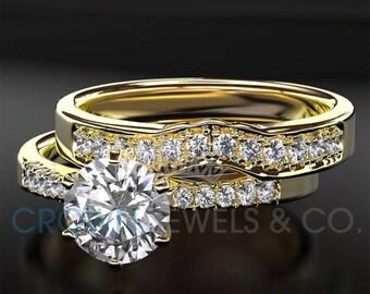 Diamond Engagement Ring And Wedding Band Ladies Bridal Jewelry Set 1.35 Carat Round Brilliant Cut F VS1 14K Yellow Gold Setting